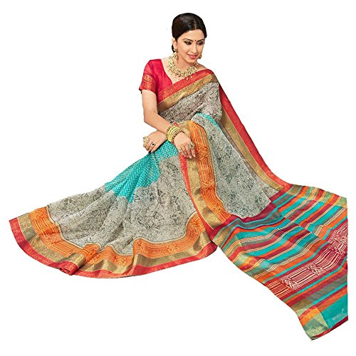 Apple Blossom Organza Silk Saree with blouse latest collection (Grey)
