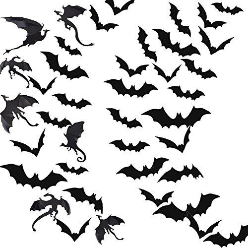 Pangda Halloween Party Angebot Dekorationen 3D Wandtattoo 72 Stück Grässlich Fledermäuse und 7 Stück Drachen Fenster (Batman Kürbisse)
