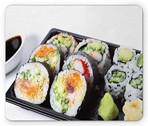, Makronahrungsmittelphotographie mit traditioneller sortierter Sushi-Platte mit Sojasoßen-Druck, Standardgrößen-Rechteck-rutschfestes Gummi-Mousepad, Mehrfarben,Gummimatte 11,8