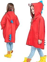 Aubess Chaqueta impermeable para niños con diseño de dinosaurio y ángel, poliéster ligero, para uso al aire libre, para niños o niñas, rojo, Large