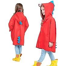 Aubess - Chaqueta Impermeable para niños con diseño de Dinosaurio y ángel, poliéster Ligero,