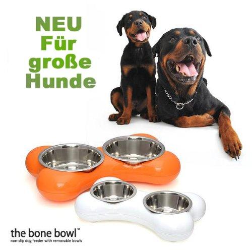 Hundenapf BONE XXL - Futternapf Doppel-Napf Futterstation - 1450 ml Futtermenge - Maße 49 x 30 x 9 cm - Farbe: Orange