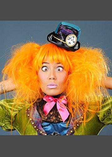 Womens Deluxe Orange Hutmacher Style Perücke (Alice Deluxe Kostüme)