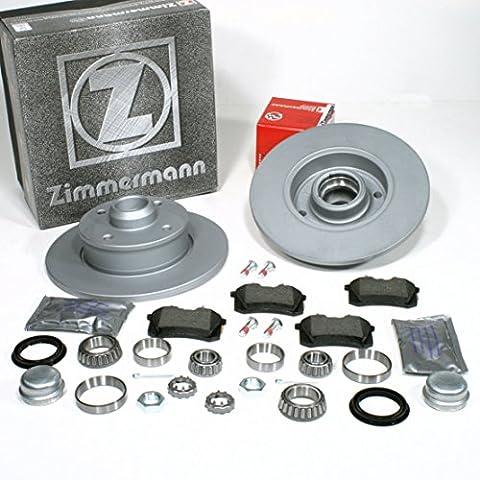 VW Golf III - Zimmermann Bremsscheiben Ø 226 mm Coat Z / Bremsen + Bremsbeläge + Radlager für hinten / die Hinterachse
