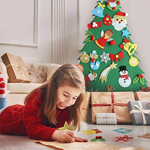 Regali Di Natale In Feltro Fai Da Te.Meeqee Albero Di Natale In Feltro Fai Da Te Con Ornamenti Per I Bambini Regali Di Natale Con 28 Pezzi Decorazioni Da Parete Con Decori Di Capodanno