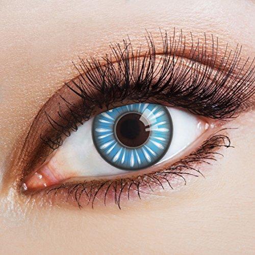 aricona Farblinsen  N°369 - Farbige 12-Monats Kontaktlinsen Paar ohne Stärke, weich und angenehm zu tragen, Wassergehalt: 42%, Blau mit Strichen