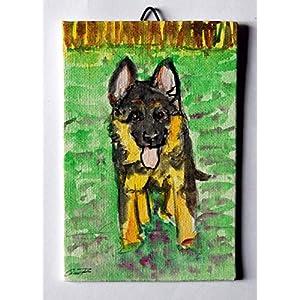Der Schäferhund-Welpe – Karton Leinwand Größe cm 10x15x0.3 cm, Acryl-Technik und bereit, an der Wand befestigt werden.Made in Italy Lucca Toskana, zertifiziert, Erstellt von Davide Pacini.