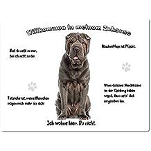 Merchandise for Fans Blechschild/Warnschild/Türschild - Aluminium - 15x20cm - -Willkommen in meinem Zuhause - Motiv: Shar Pei/Faltenhund - 02