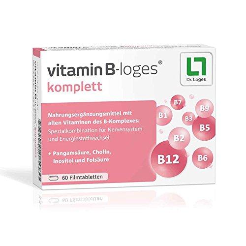 vitamin B-Loges komplett von Dr. Loges, 60 Filmtabletten (PZN 11101514) Vitamin B-Komplex - Unterstützung für Nervensystem und Energiestoffwechsel - Hergestellt in Deutschland