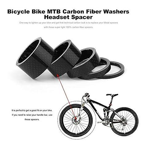 Qewmsg Bicicleta Bicicleta MTB Arandelas de Fibra de Carbono Auriculares Espaciador 3 mm 5 mm 10 mm 15 mm 20 mm