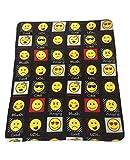 Expressions, Emoji Negro Forro Polar, manta, adecuado para silla o cama, lavable a máquina, 127cm x 152cm, emoticonos