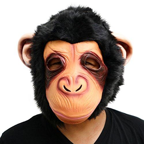 thematys AFFE Gorilla Monkey Maske - perfekt für Fasching, Karneval & Halloween - Kostüm für Erwachsene - Latex, Unisex (Realistische Gorilla Kostüm Für Erwachsene)