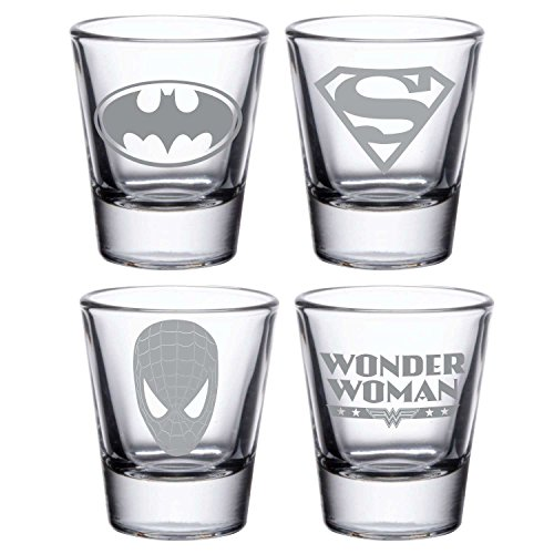 YaYa Cafe Birthday Party Gifts Glasses Engraved Superman Super Heroes Tequila, Vodka Shot Glasses Set Of 4