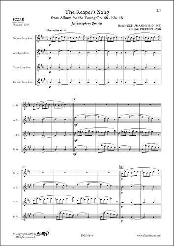 PARTITION CLASSIQUE - Chant du Faucheur - R. SCHUMANN - Quatuor de Saxophones