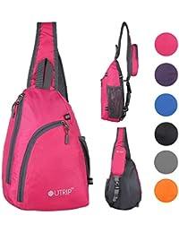 Mochila de viaje para hombro bolsas cruzadas de pecho para senderismo escolar Hombres Mujeres Niña, rosa (b)