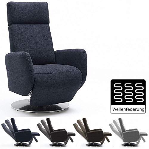 Cavadore TV-Sessel Cobra / Fernsehsessel mit Liegefunktion, Relaxfunktion / Stufenlos verstellbar / Ergonomie L / Belastbar bis 130 kg / 71 x 112 x 82 / Anthrazit