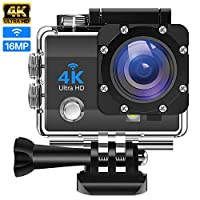 """IDEER 4K Action Camera 16MP Vision Sport Camera, Ultra HD WiFi Waterproof Camera, 170° HD Wide Angle Lens Underwater Cam w/2 Rechargeable Batteries, 2.0"""" HD Screen Video and Multiple Accessories Kits"""