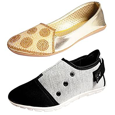 Ziaula Women Ladeis Belly and Casual Shoe Combo Pack