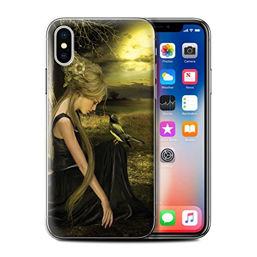 Officiel Elena Dudina Coque / Etui pour Apple iPhone X/10 / Forêt/Collier de Perles Design / Les Oiseaux Collection Coucher Soleil