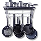 Geo Fashion Kitchen Wall Pot Pan Rack,With 10 Hooks,Black