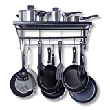 #8: Geo Fashion Kitchen Wall Pot Pan Rack,With 10 Hooks,Black