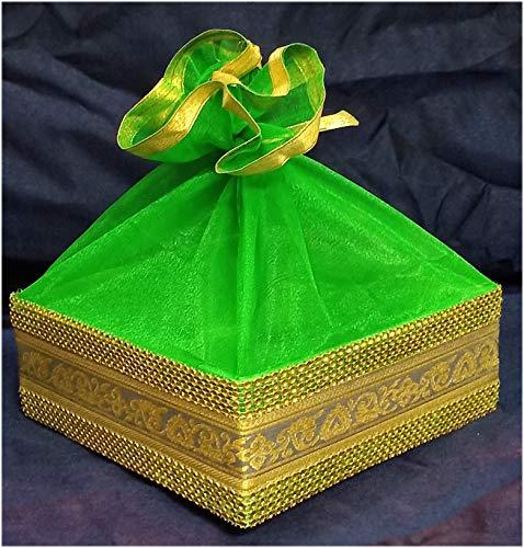 line n curves Decorative Satin Basket (Green) -3 Set