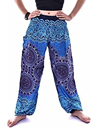 4f5f8aed4137 TEBAISE Yoga Hosen Damen Unisex Haremshose mit Gesmoktem Bund Pfauendruck  Blumenmuster Thai Hippie Hose Hosenrock Haremshose