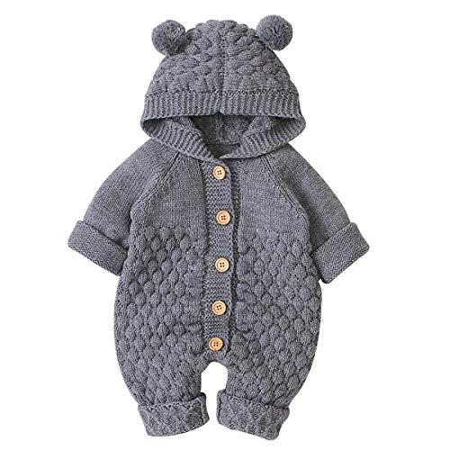 Haokaini Neugeborenes Baby Ohr Kapuze Gestrickte Strampler Overall Winter wärmer Schneeanzug für Jungen Mädchen(Grau, 3-6M)