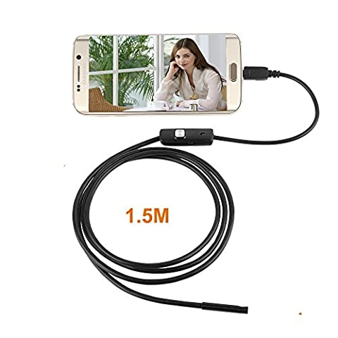 Protech Téléphone intelligent USB Endoscope Caméra d'inspection, Snake Caméra, 5.5mm 1.5M Android OTG Micro USB Boroscope Imperméable Endoscope pour Ordinateurs portables et USB OTG Compatible Android Téléphones intelligents