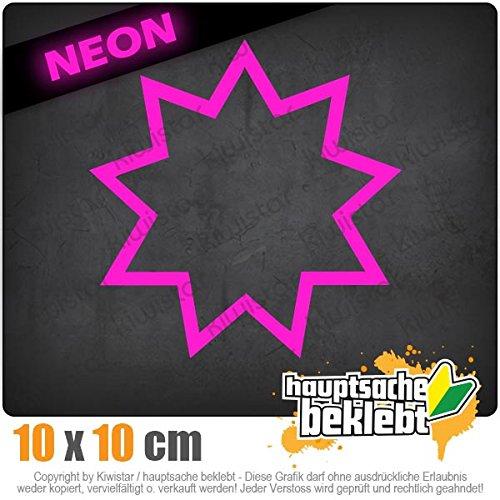 Bahai Nine-Pointed Star 10 x 10 cm IN 15 FARBEN - Neon + Chrom! Sticker Aufkleber