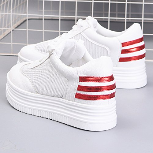 HGTYU Sommer Zu Dem Mädchen Dicke Biskuitteig Schuhe Freizeitschuhe Ausgesetzt Die Das Panel Für Atmungsaktivität Wild Studenten Das Halteband Schuhe 38 Rot