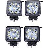 sailun Focos de trabajo 4x 27W Foco LED Offroad, foco reflector, foco de trabajo, 1755 lm, negro, aluminio fundido IP67(4* 27W cuadrado)