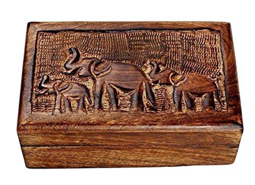 Christmas Gifts Landhaus Holz Schmuckschatulle Andenken Aufbewahrungsbox Organizer Mehrzweck mit von Hand geschnitzte Elefant Design (Make-up Organizer Kofferraum)