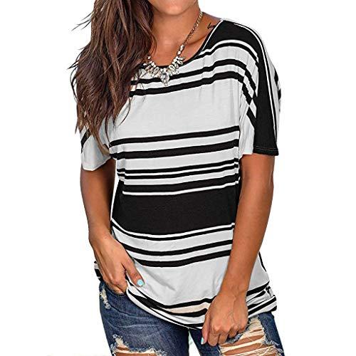 WoWer Damen Sexy lässig gestreiftes Hemd Halfter Kurzarm T-Shirt Top Regenbogen Streifen | Rundhalsausschnitt Shirt Stretch Bluse Casual Tunika Tops -