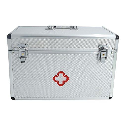 Tosbess Alu Medizinkoffer Erste Hilfe Koffer Medizin-Box mit Tragegriff,37,5× 21,5× 23,5cm