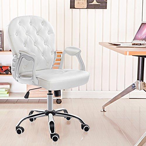 HEBEYG   Silla de oficina para el hogar, altura ajustable, piel, color blanco