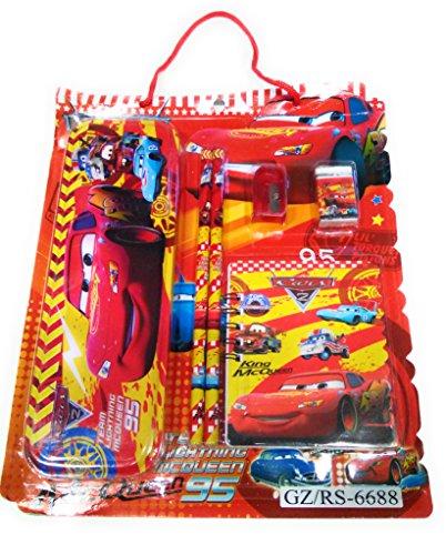 DFS Simple STATIONERY SET - CARS (With Pencil Box, Pencils, Eraser, Sharpener, Ruler, Notebook ...)