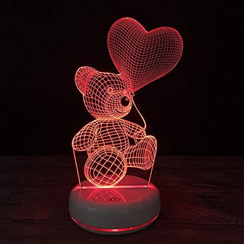 GIRLXV Geschenk Dekorationen Kreative Weihnachtsgeschenk 3D Glühbirne Bär Bunte Note Stereo Led Cartoon Nachtlicht Usb Kreative Geschenk Tischlampe -