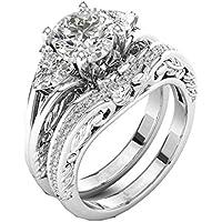 Yukong Women Jewelry 2-in-1 Crystal Rhinestone Rings Engagement Wedding Bridal Zirconia Creative Set