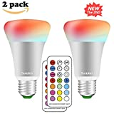 RGBW 10W E27 Led Colores Cambiantes Lámpara,Sunpion® Bombilla Bulbo LED AC 85-265V, LED Lmpara Bombilla 12 Colores Mando a Distancia Led RGB Light Bulb (2 Pcs)