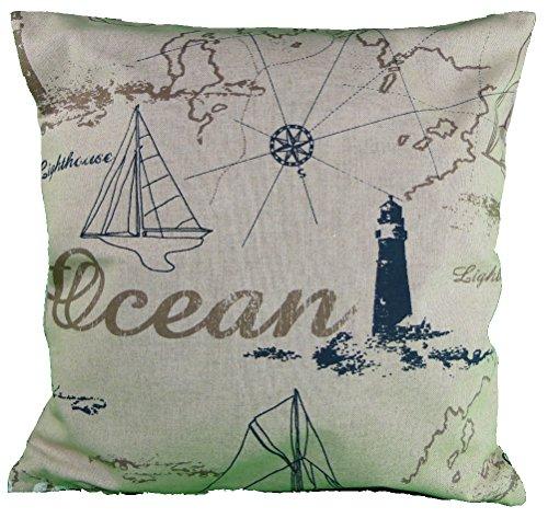 Deko Kissen 40x40 cm -maritimes Kissen, Kissen maritim, Bootskissen, Gartenkissen, Stuhlkissen, Sofakissen- Kissenhülle (beige) - mit Ocean undf Schiffsmotiv (Ocean)