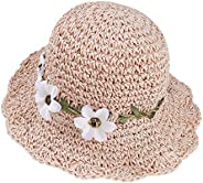 Sombrero de Paja Niñas Anti UV Gorra de Sol Chica de Playa con Flores para Viaje Beach Piscina al Aire Libre 5