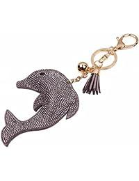 Da.Wa Llavero de Cuero con Flecos Clave para Cubierta de la Llave del Coche Llavero Delfín Colgante Accesorio del…
