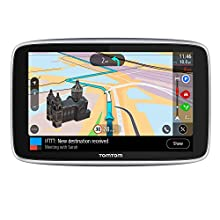 TomTom Car Sat Nav GO Premium 6 Inch, with Traffic Congestion and Speed Cam Alerts Thanks to TomTom Traffic, World Maps, Updates via WiFi, Handsfree Calling, Click-And-Drive Mount