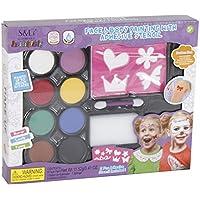 GEMUBECA Set Maquillaje Facial con 2 Plantillas 8 Colores y Esponja 233a938a0c8