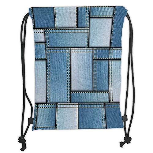 OQUYCZ Drawstring Sack Backpacks Bags,Farmhouse Decor,Patchwork of Different Size Denim Fabric Pattern with Vertical Warp Beam Artprint,Blue Soft Satin,5 Liter Capacity,Adjustable String Closu -