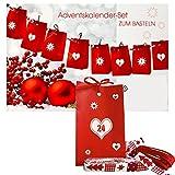 Adventskalender zum Basteln und Selbstbefüllen 30teilig mit 24 Tüten und Zahlenaufkleber von 1-24 … (rot)