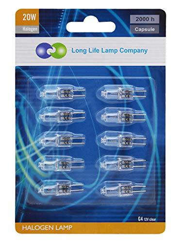 G4 Halogen Light Bulbs Lamps, 20 Watt 12 V, Pack of 10