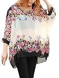 Landove Blusas y Camisas Mujer Estampadas Flores Camiseta Bohemia Tops con Mangas Largas de Murciélago Caftan Playa Gasa Tallas Grandes