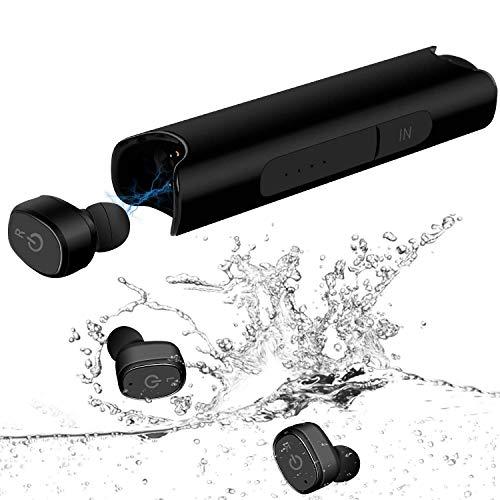 YIMAN Newest Drahtlose Kopfhörer, Bluetooth In-Ear-Ohrhörer, IPX7 wasserdichte Bluetooth V5.0 Kopfhörer mit Mikrofon, Ladekoffer, 36H Playtime 3D-Bass-Stereo-Sound für Sport